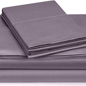 Lavender Fitted Sheet and Pillowcase Bliss Sateen Solid