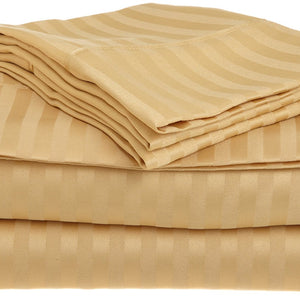 Comfy Stripe Sheet Set Gold Sateen