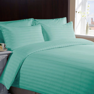 Comfy Stripe Sheet Set Aqua Blue Sateen