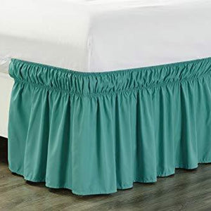 Aqua Blue Wrap Around Bed Skirt