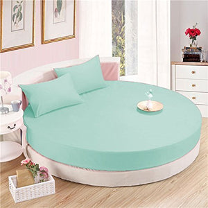 Aqua Blue Round Bed Sheets Set Solid Comfy Sateen