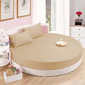 Sateen Round Sheet Set Comfy Solid 96 Inch Diameter Beige