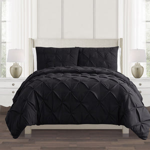 Black Pintuck Duvet Cover