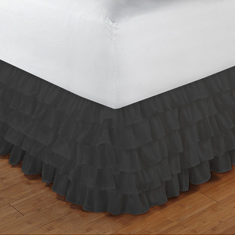 Multi Ruffle Bed skirt Solid Black - aanyalinen