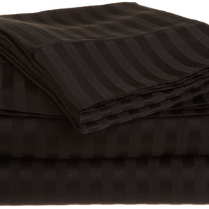 Comfy Stripe Sheet Set Black Sateen