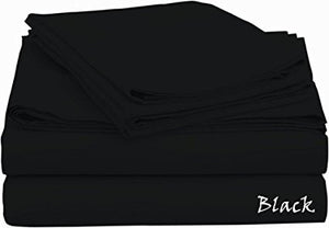 Sateen Sheet Set With Extra Pillowcase-Comfy Solid Black