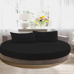 Black round bed sheet