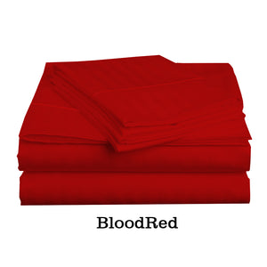 Comfy Stripe Sheet Set Blood Red Sateen