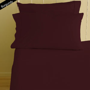 Sateen Fitted sheet with Pillowcase Comfy Solid Burgundy