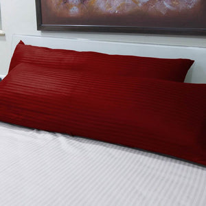 Burgundy Stripe Body Pillow Cover