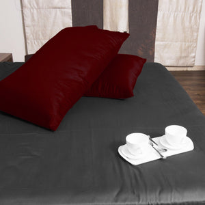Luxury Burgundy Pillow Case Solid Comfy Sateen