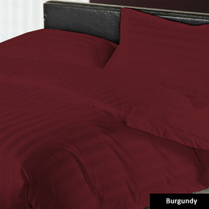 Sateen Comfy Stripe Duvet Cover set Burgundy