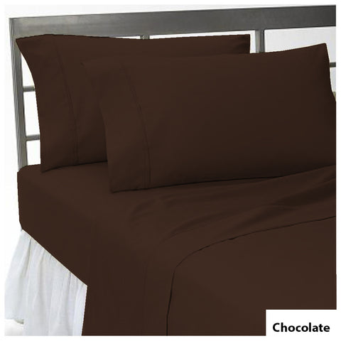 Comfy Flat sheet and Pillowcase Sateen Solid Solid Chocolate