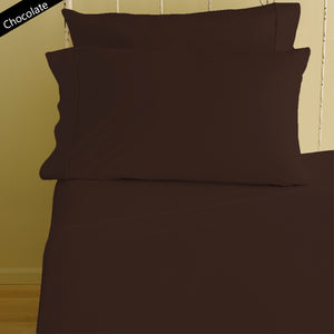 Chocolate Fitted Sheet and Pillowcase Bliss Sateen Solid