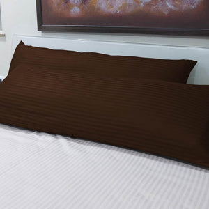 Chocolate 20x54 stripe body pillow cover