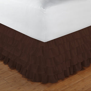Multi Ruffle Bed skirt Comfy Solid Chocolate