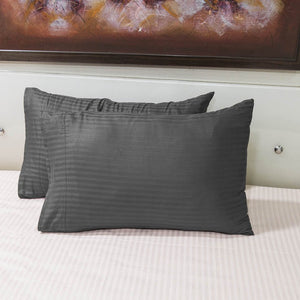 Dark Grey Stripe Pillowcase