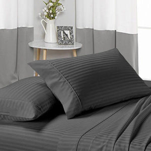 Dark Grey Stripe Sheets Set