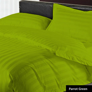 Green stripe duvet cover with fitted sheet