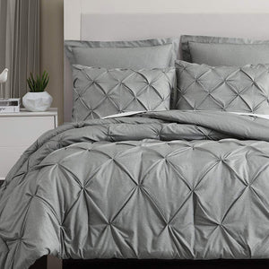 Light Grey Pintuck Duvet Cover