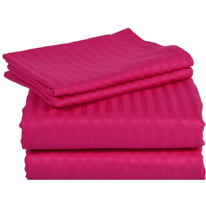 Comfy Stripe Sheet Set Hot Pink Sateen