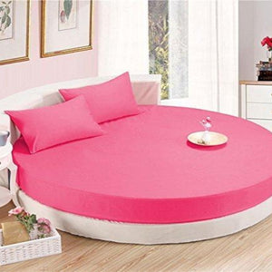 Hot Pink Round Bed Sheets Set Solid Comfy Sateen