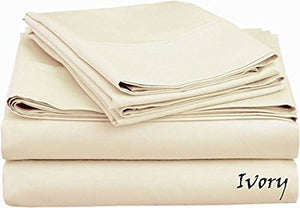 Sateen Sheet Set With Extra Pillowcase-Comfy Solid Ivory - aanyalinen