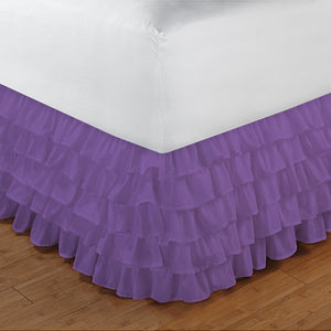 Multi Ruffle Lavender Bed Skirt Solid Comfy