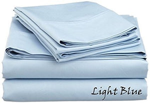 Sateen Sheet Set With Extra Pillowcase-Comfy Solid Light Blue - aanyalinen