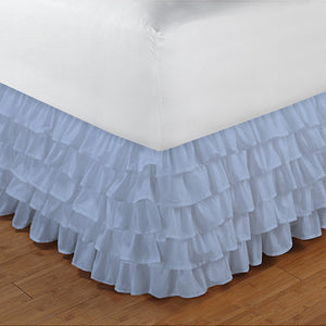 Multi Ruffle Bed skirt Comfy Solid Light Blue