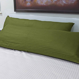 Moss Green Stripe Body Pillow Cover