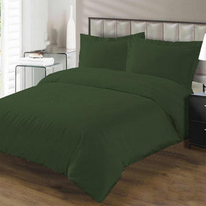 Moss Green duvet cover set with fitted sheet