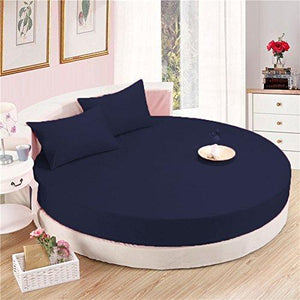 Navy Blue Round Fitted Sheet with Pillowcase
