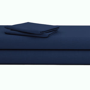 Comfy Solid Sateen Sheet Set Navy Blue