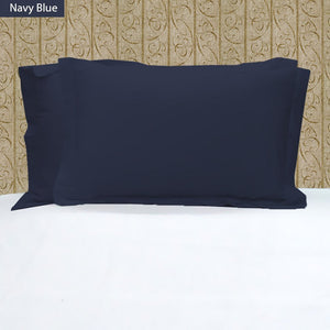 Navy Blue Pillow Shams Solid Bliss Sateen