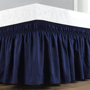 Navy blue wrap around bed skirt