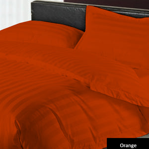 Stripe Duvet Cover Set and Fitted Sheet Sateen Comfy Orange