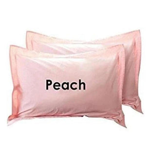 Pillowshams with hamming Solid Comfy Sateen Peach - aanyalinen