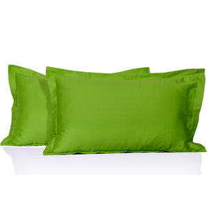 Parrot Green Pillow Shams Solid Comfy Sateen