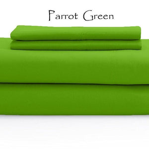 Comfy Solid Sateen Sheet Set Parrot Green