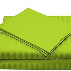 Comfy Stripe Sheet Set Parrot Green Sateen