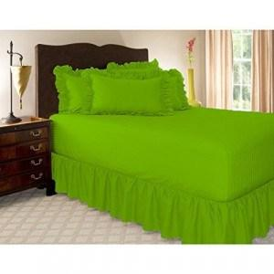Parrot green gathered bed skirt