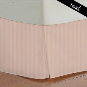Peach Striped Bed Skirt