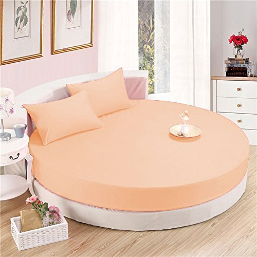 Peach Round Bed Sheets Set Comfy Solid Sateen