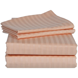 Comfy Stripe Sheet Set Peach Sateen