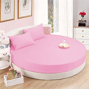Sateen Round Sheet Set Comfy Solid 96 Inch Diameter Pink