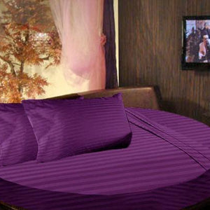 Purple round stripe sheet set