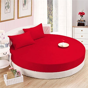 Blood Red Round Bed Sheets Set comfy Solid Sateen