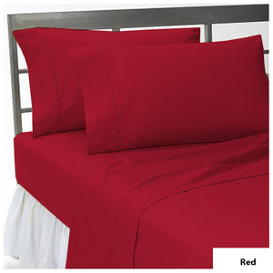 Red flat sheet with pillowcase