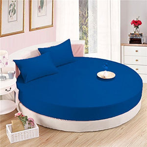 Royal Blue Round Bed Sheets Set comfy Solid Sateen
